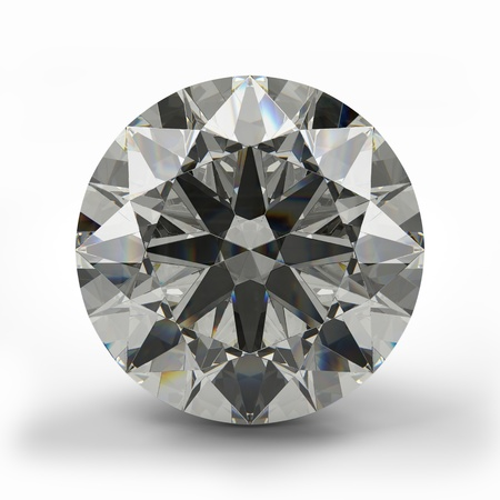 round brilliant: Top view of round diamond  Beautiful sparkling diamond on a light reflective surface  High quality 3d render