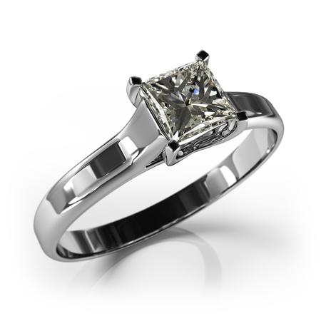 bodas de plata: Regalo del anillo de bodas aislado Primer plano de un anillo de oro blanco con diamantes brillante diamante hermoso en una superficie reflectante a la luz