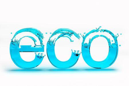 ecosistema: Texto en 3D para el concepto de Eco Guardar Ecología en el fondo blanco. 3d de alta calidad.