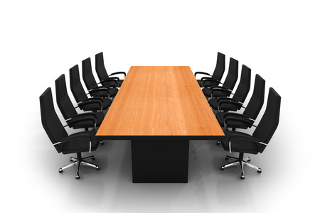 empty table: conference table and chairs isolated on white background Stock Photo