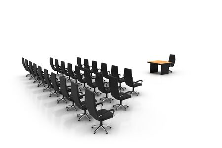 boardroom meeting: Side view of conference center. High quality 3d render. Stock Photo
