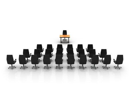 boardroom meeting: Stylized photo of an empty conference room. High quality 3d render.