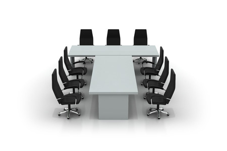 conference table: conference table and chairs isolated on white background Stock Photo