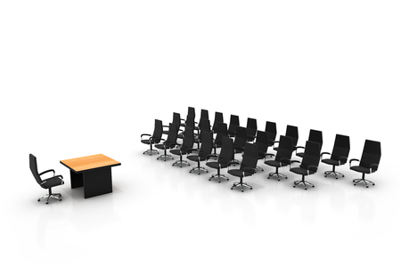 conference table: Side view of conference center. High quality 3d render. Stock Photo