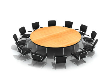 round table: conference table and chairs isolated on white background Stock Photo