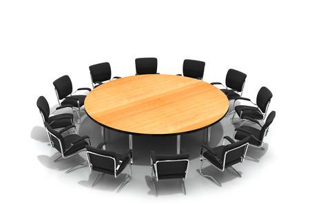 conferentietafel en stoelen geïsoleerd op witte achtergrond