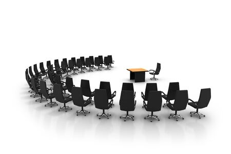 conference table: Side view of conference center . High quality 3d render.