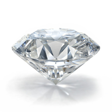 diamond jewel on white background. High quality 3d render with HDRI lighting and ray traced textures.