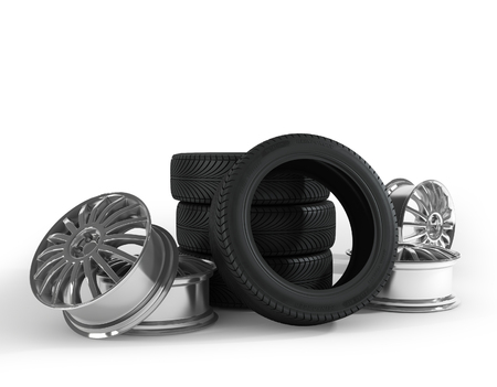 Tires and wheels on the white background. High quality 3d render.