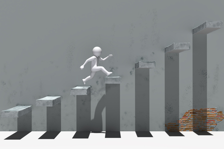 3d people character running up on stairs.  High quality 3d render. 免版税图像