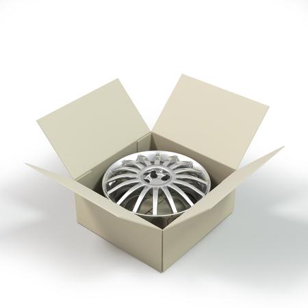 custom car: Aluminium Alloy rim in a cardboard box. Custom rim for  car.