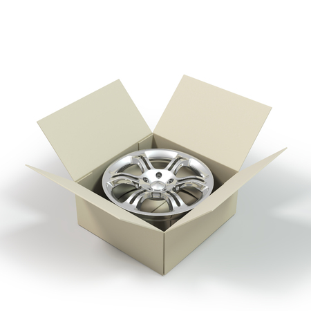 Aluminium Alloy rim in a cardboard box. Custom rim for  car.