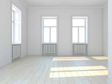 Empty classic white  room with windows. High quality 3d render.