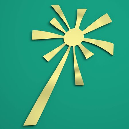 Sun rays with white and green retro color. High quality  3D illustration.