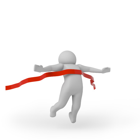 finishing line: 3d person crossing the finishing line. High quality 3d render. Stock Photo