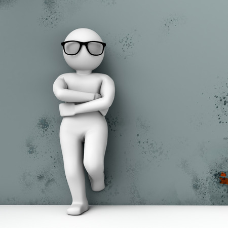 3d person in glasses standing near the wall. High quality 3d render. 免版税图像
