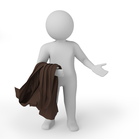 3d white person embarrassed. Isolated white background. 3D rendering. High quality 3d render.