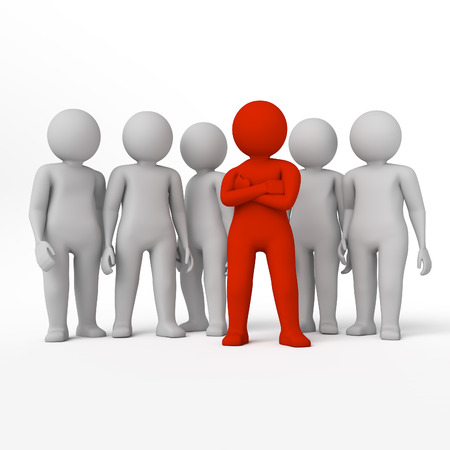 allocated: small person the leader of a team allocated with red colour. 3d image. Isolated white background. High quality  render. Stock Photo