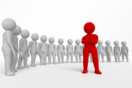 little man: small person the leader of a team allocated with red colour. 3d image. Isolated white background. High quality render.
