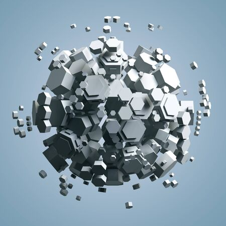 prisma: 3D rendering of white hexagonal prism. Sci-fi background. Abstract sphere in empty space. High quality render.