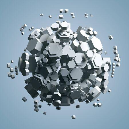 prisma: Representación 3D de blanco prisma hexagonal. fondo de ciencia ficción. Resumen esfera en el espacio vacío. Procesamiento de alta calidad. Foto de archivo
