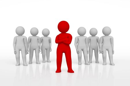 allocated: small person the leader of a team allocated with red colour. 3d image. Isolated white background. High quality render.