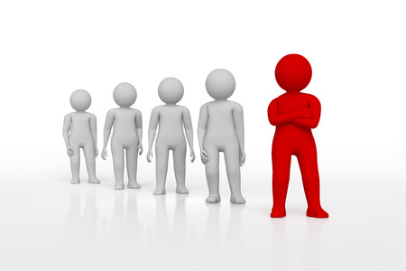 white person: small person the leader of a team allocated with red colour. 3d image. Isolated white background. High quality render.