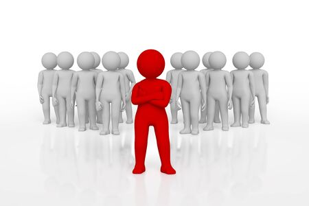small person the leader of a team allocated with red colour. 3d image. Isolated white background. High quality render.