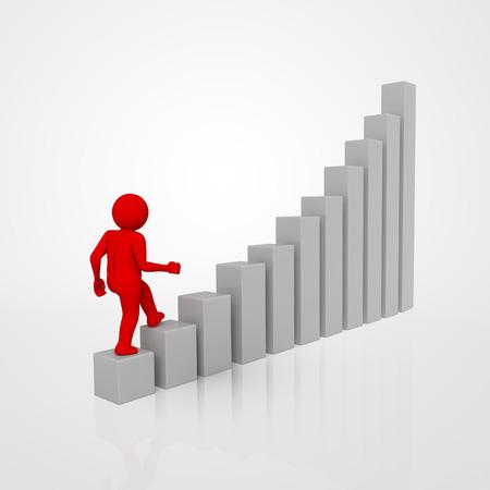 businessman climbing a graph column. 3d render.
