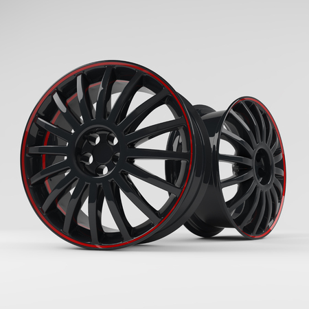Aluminum black wheel image 3D high quality render. White picture figured alloy rim for car.