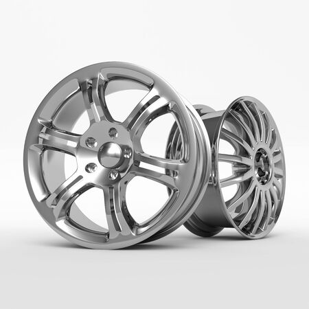 Aluminum wheel image 3D high quality render. White picture figured alloy rim for car.
