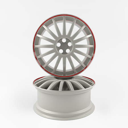 aluminum wheels: Aluminum white wheel image 3D high quality render. White picture figured alloy rim for car.