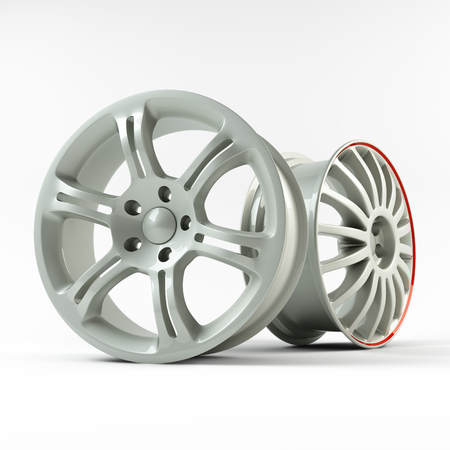 Aluminum white wheel image 3D high quality rendering. Picture figured alloy rim for car. Best used for Motor Show promotion or car workshop booklet or flyer design on white background.