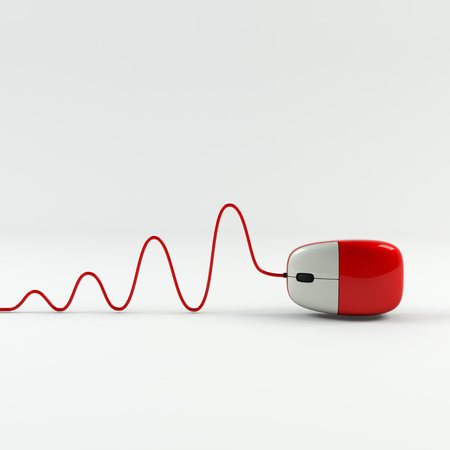 Optical computer mouse and cable in form of wave on a white background. Red ergonomic mouse. Computer parts.