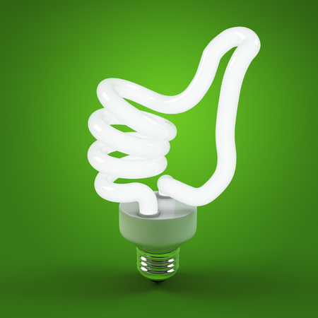 Ecology environment and saving energy, light bulb concept of successful business. Thumb up sign gesture hand lamp bulb. Energy saving solutions. Efficiency symbol. 3D high quality rendering. 免版税图像