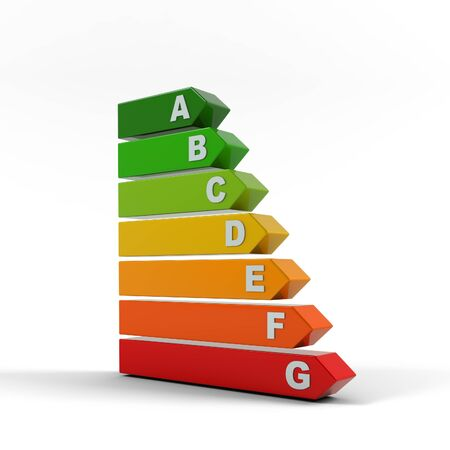 Energy efficiency rating. Ecology environment and saving energy, energy performance scale. Energy saving solutions. Efficiency symbol. 3D rendering.