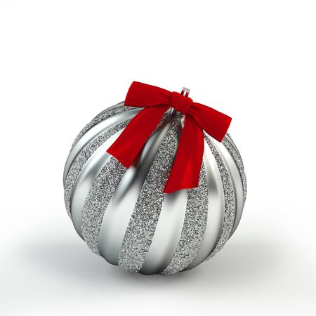 Silver Christmas tree toy with ribbon. Silver ball. Christmas and New Year decoration. 3D rendering object isolated on white.