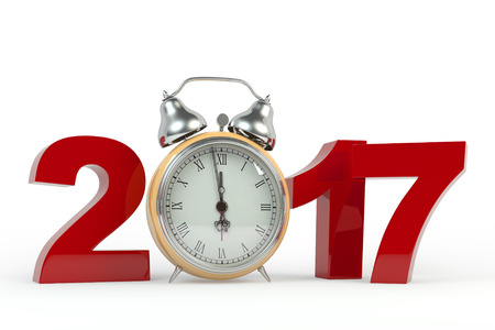3D rendering 2017 Happy New Year background with old clock. It's better to use for promotion, booklet's or flyer's design on white background.