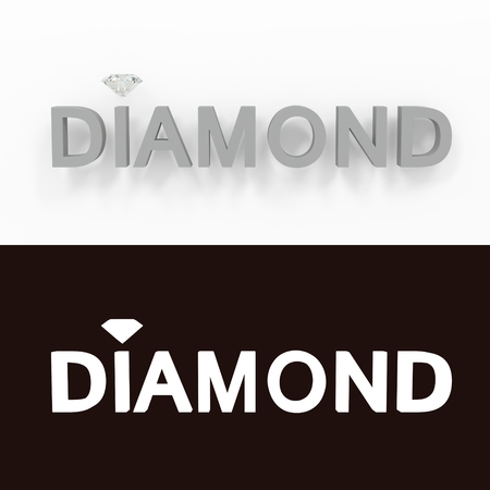 Diamond - gray text on a white background - 3D rendered royalty free stock picture. This image can be used for an online website banner ad or a print postcard. 3D rendering.
