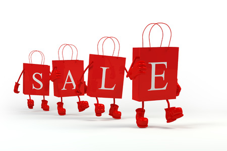 Sale shopping bags. Concept of discount. Cube characters paper in paper bags. It's better to use for promotion, booklet's or flyer's design on white background. 3D rendering.
