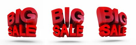 Big Sale Word. Concept of discount. It's better to use for promotion, booklet's or flyer's design on white background. 3D rendering.