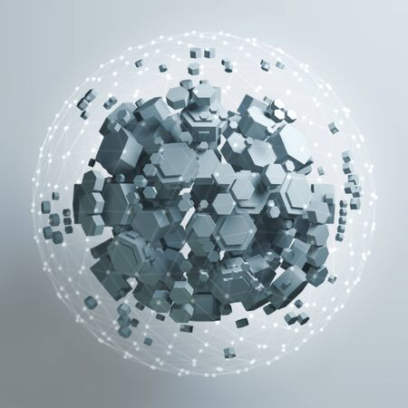 3D rendering of white hexagonal prism. Sci-fi background. Abstract sphere in empty space.