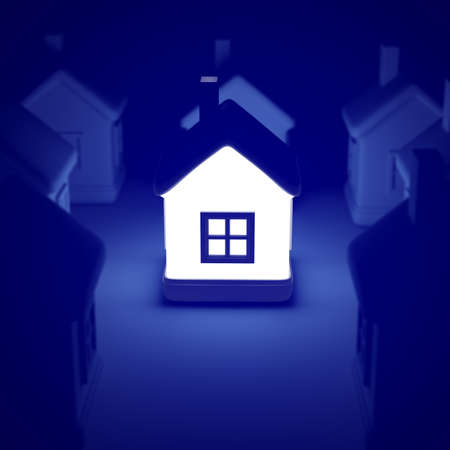 Glowing home on blue background, idea concept. 3d rendering of a lot of houses and a bright house in the middle.
