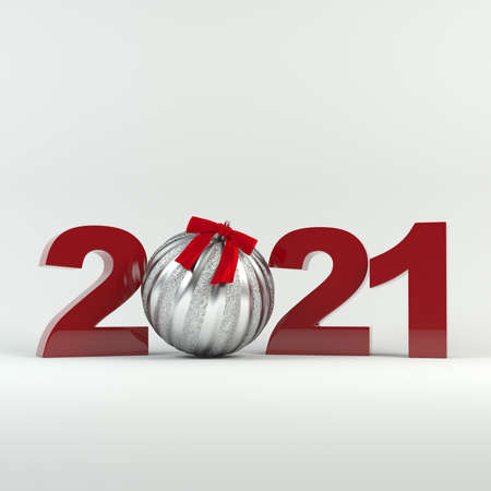 Christmas and New Year 2021 decoration. Silver ball decorated with ribbon. 免版税图像