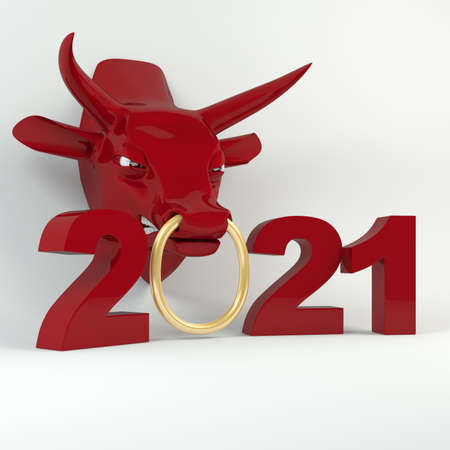 Year of ox. New Years and Christmas illustration. Bull zodiac symbol of the year 2021.