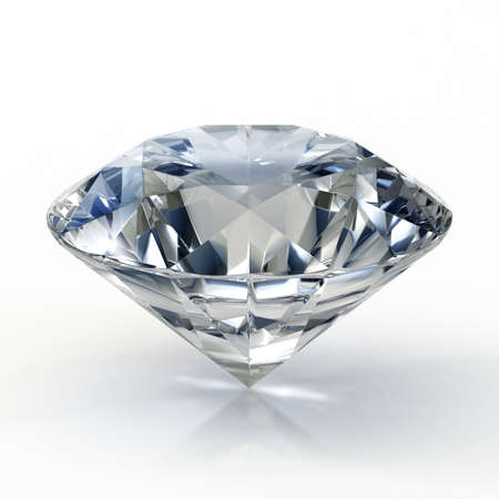 Picture of diamond, beautiful sparkling shining round shape emerald image with reflective surface. 3D render.