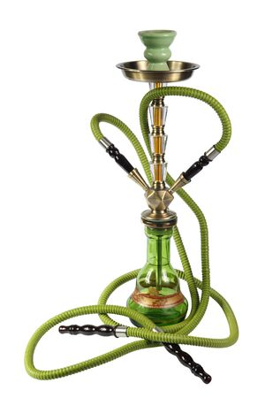 dope: green Hookah on a white background Stock Photo