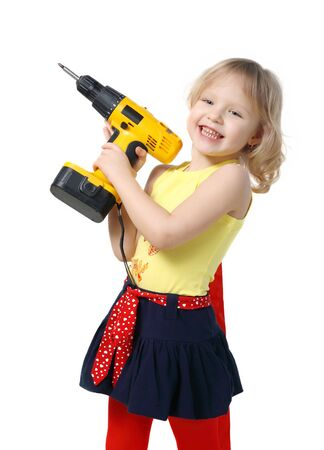 chuck: Little girl with screwdriver in hands on a white background