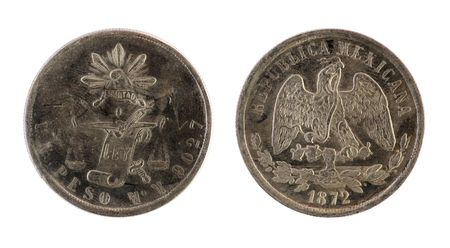 numismatics: Old mexican coin on a white background