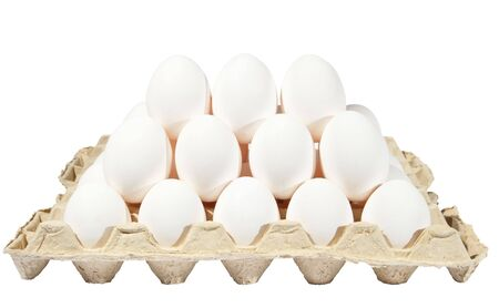 eggs in packing on a white background photo